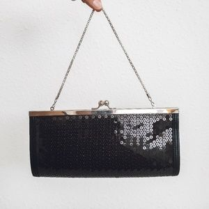 Kate Landry | black sequined clutch